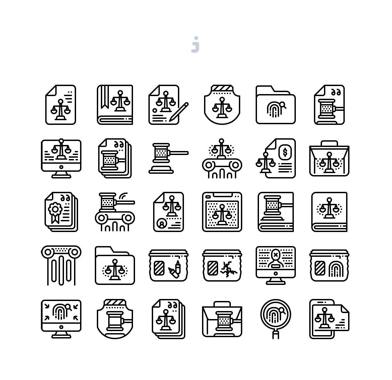 30个法律相关系列图标描边风源文件下载30 Law Icon set Detailed Round line插图(2)
