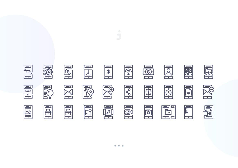创意手机图标线性图标源文件下载30 Mobile Feature icons插图(2)