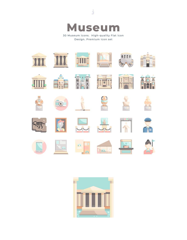 30个博物馆系列相关图标创意原文件下载30 Museum Icon set Flat插图(2)