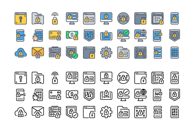 30个安全系列图标描边风元源文件下载30 Security icon set插图(2)