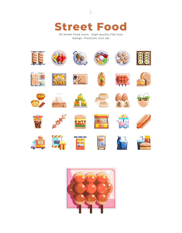 30个街头食品元素扁平风图标源文件下载30 Street Food Icon set Flat插图(2)