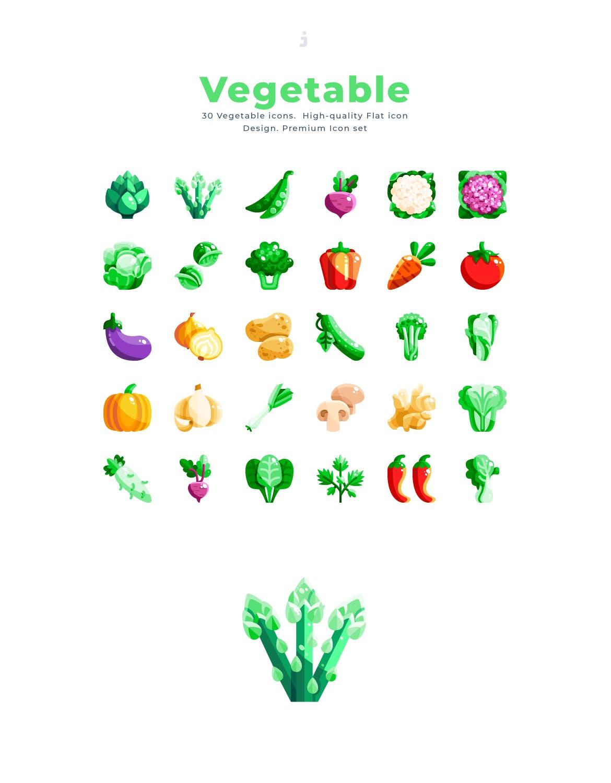 30个绿色有机蔬菜元素扁平风图标源文件下载30 Vegetable Icon set Flat插图(2)