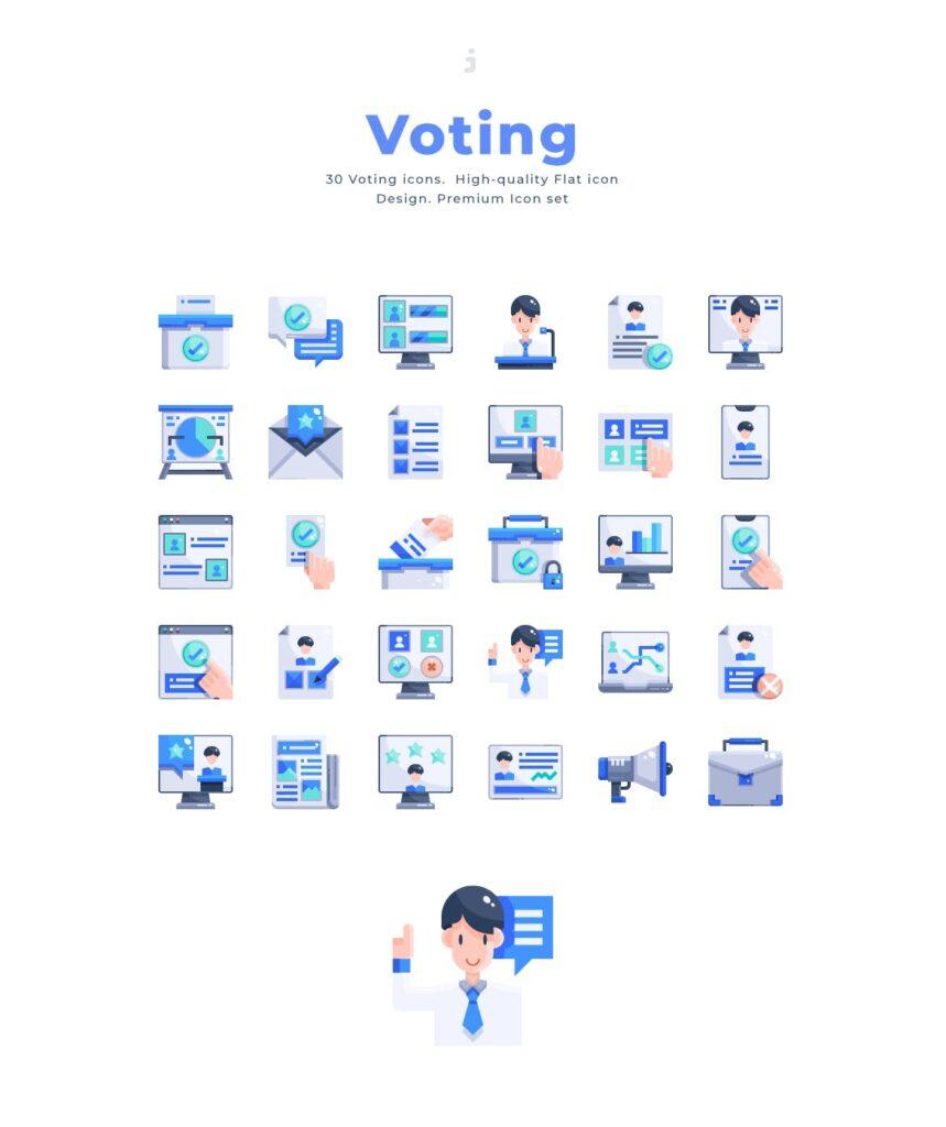 3个商务类数据传输相关扁平化图标素材30 Voting Icons Flat插图(2)