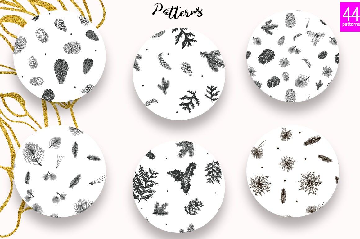 松树/刺柏/落叶创意图案装饰模板下载44 Winter patterns set插图(1)