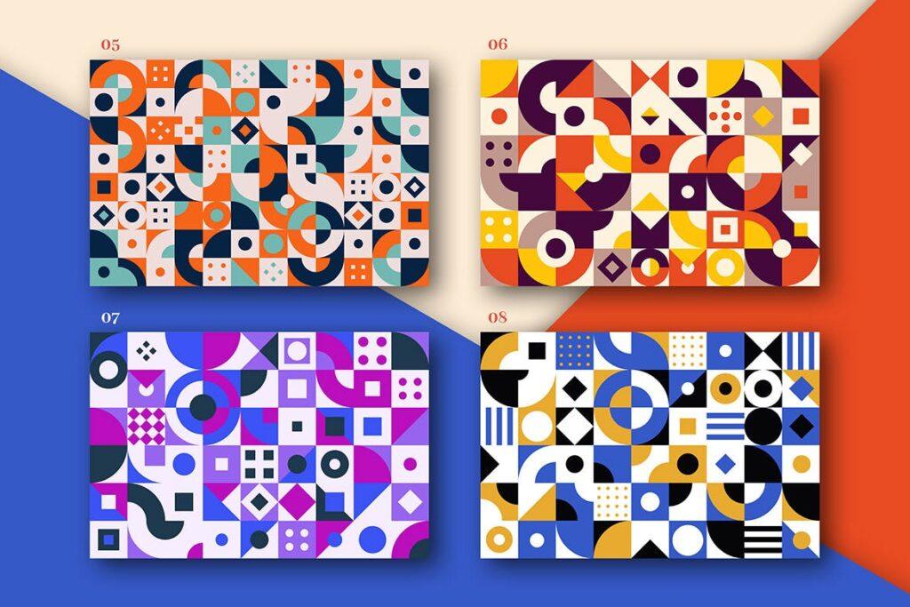 8个有趣和多彩的创意几何平面构成图案Abstract Geometric Patterns插图(2)