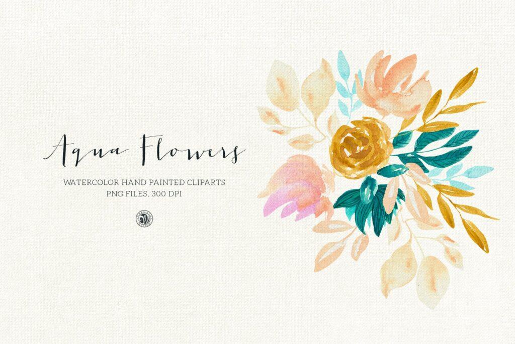 蓝色水彩花卉创意图案设计Blue floral design插图(3)