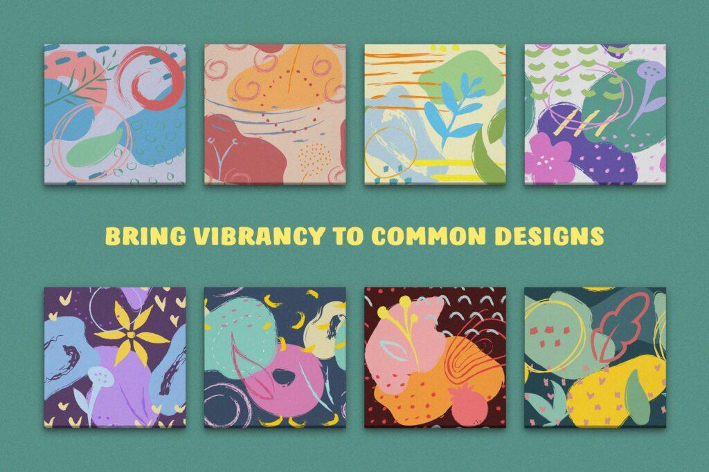 艺术笔触抽象元素装饰图案Artistic Dimension Abstract Patterns插图(2)
