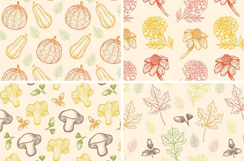 手绘矢量复古风格秋季设计元素装饰图案下载Autumn Colors Vintage Design Kit插图(2)