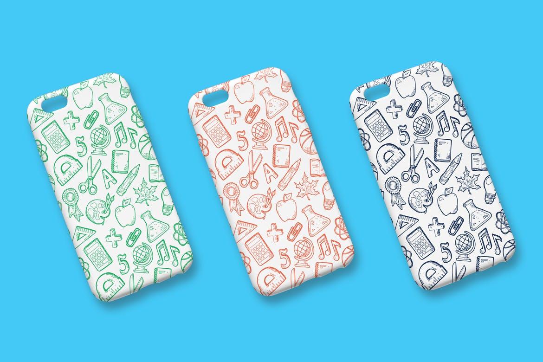 手绘工具类型手机壳装饰图案纹理Back to school handdrawn pattern插图(2)