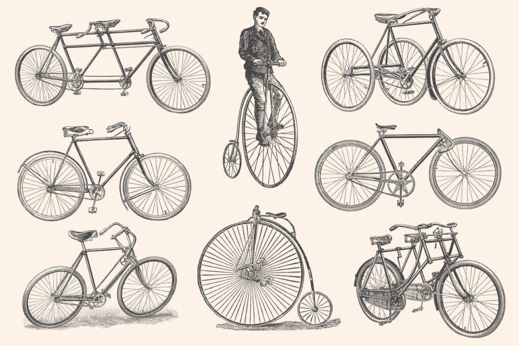 自行车和自行车配件的经典插图合Bicycles Vintage Illustration Set插图(2)
