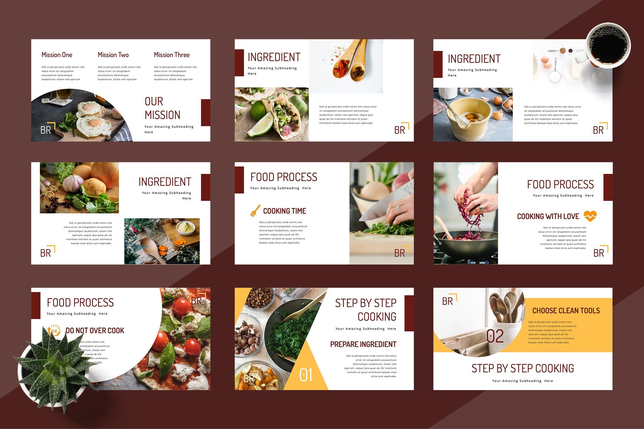 早餐-食物美食类展示模板Breakfa Food Powerpoint Presentation插图(2)