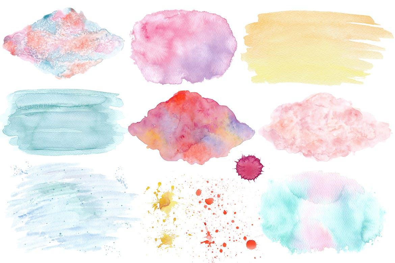 水彩纹理多笔触素材模板下载Bright watercolor textures pack插图(2)