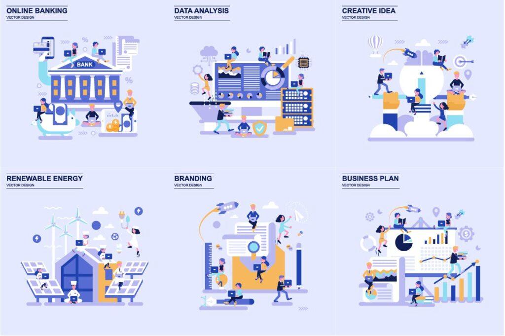 商务主题场景创意扁平化主题插画元素设计Business Flat Concepts插图(2)
