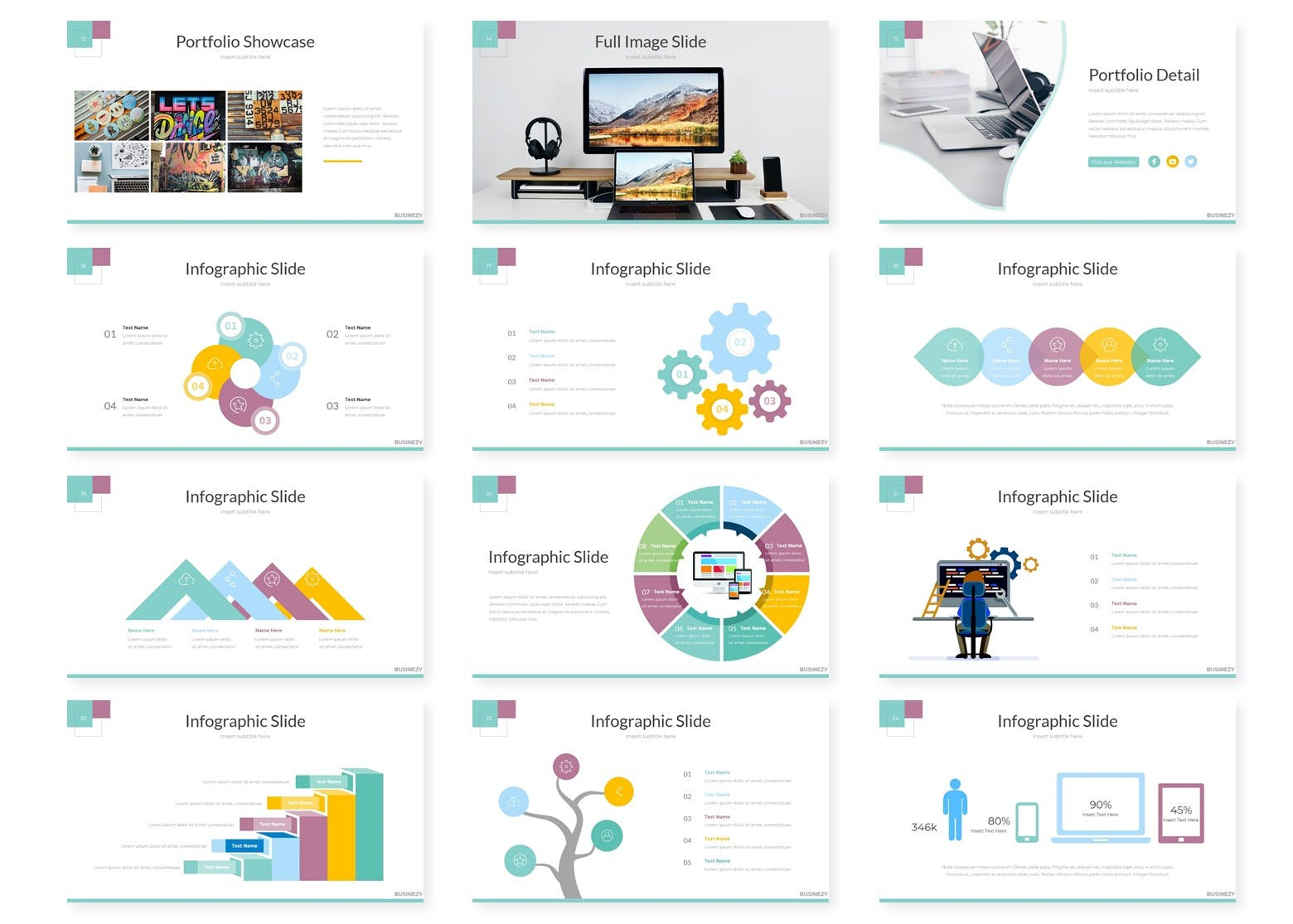 企业市场策划数据PPT幻灯片模板Businezi Keynote Template插图(2)