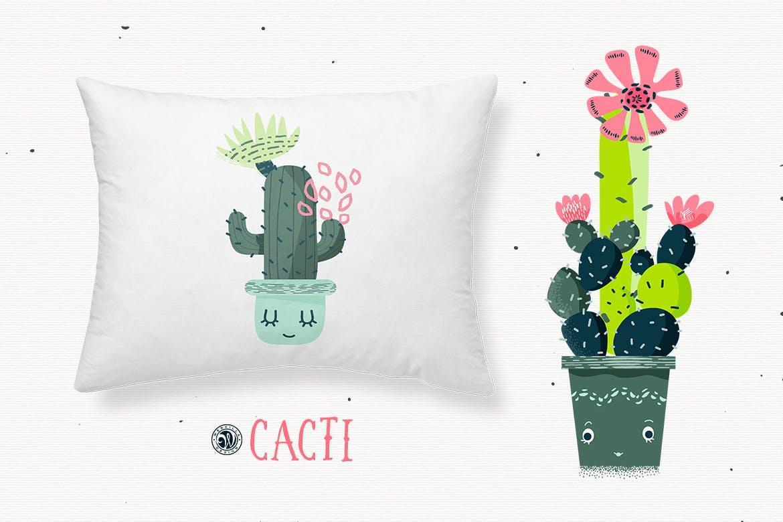 仙人掌手绘元素装饰图案素材模板Cacti With Smiling Pots插图(4)