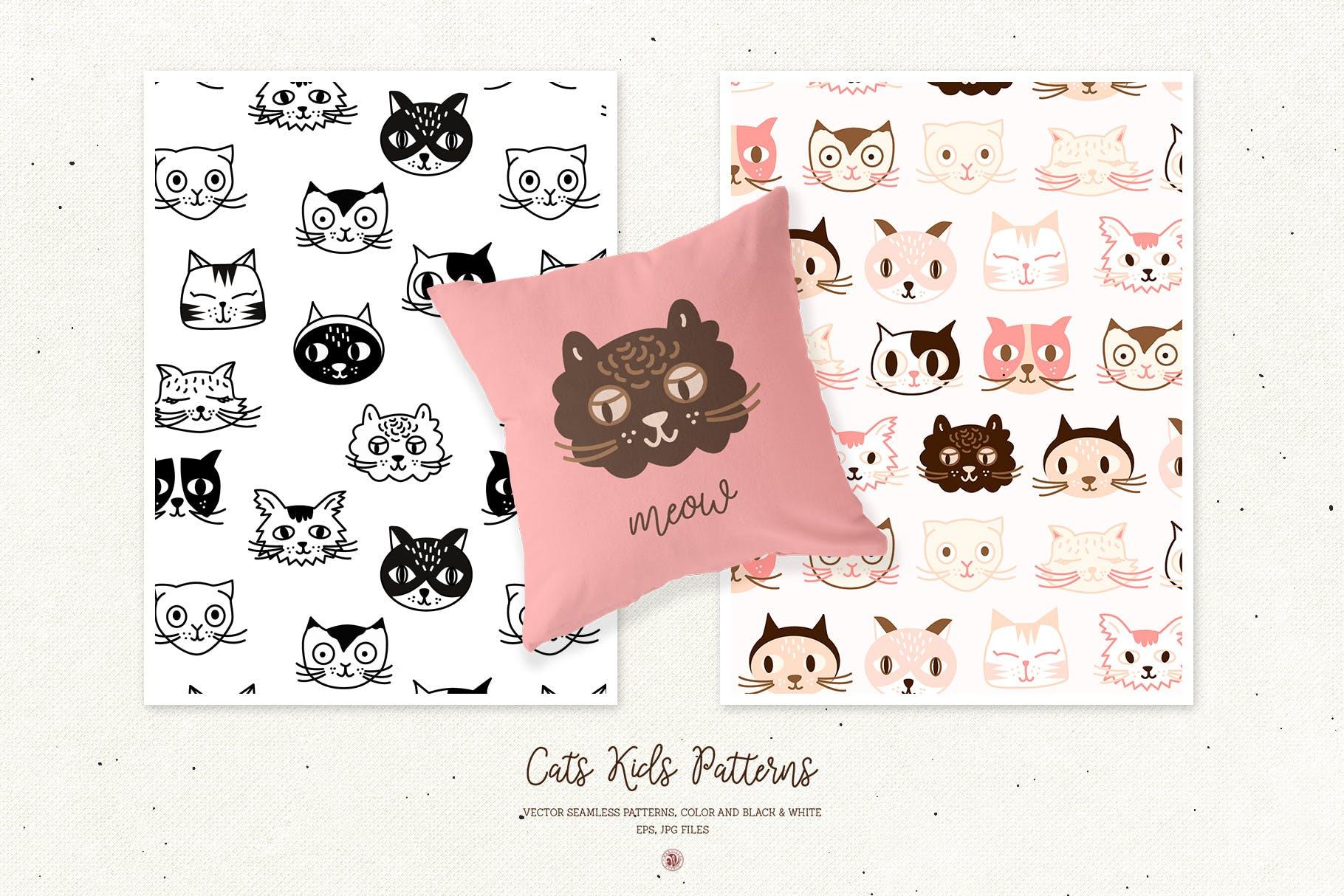 可爱猫孩子创意图案素材花纹猫孩子模式Cats Kids Patterns插图(2)