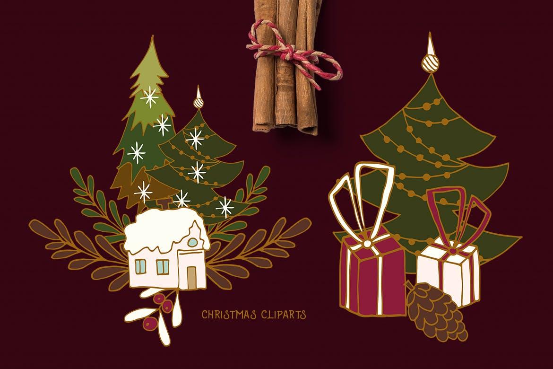 圣诞节剪贴画矢量手绘元素装饰素材Christmas Cliparts插图(2)