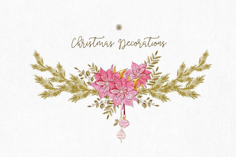 圣诞装饰素材图案纹理花卉图案纹理下载Christmas Decorations插图(2)