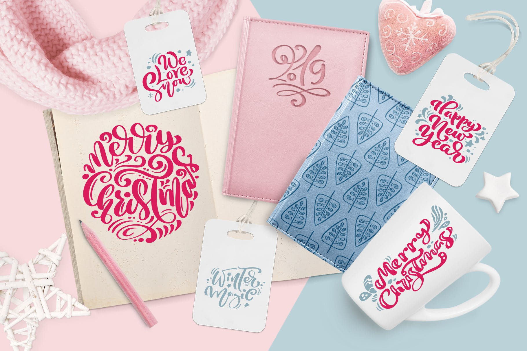 圣诞节元素雪花/星星/手套/礼物图案花纹装饰图案模板Christmas lettering quotes design插图(2)