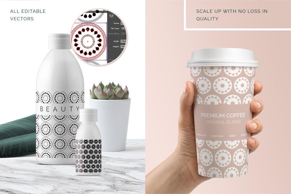 全新优雅的40个圆形无缝矢量图案食品包装装饰图案Circular Patterns Set插图(2)