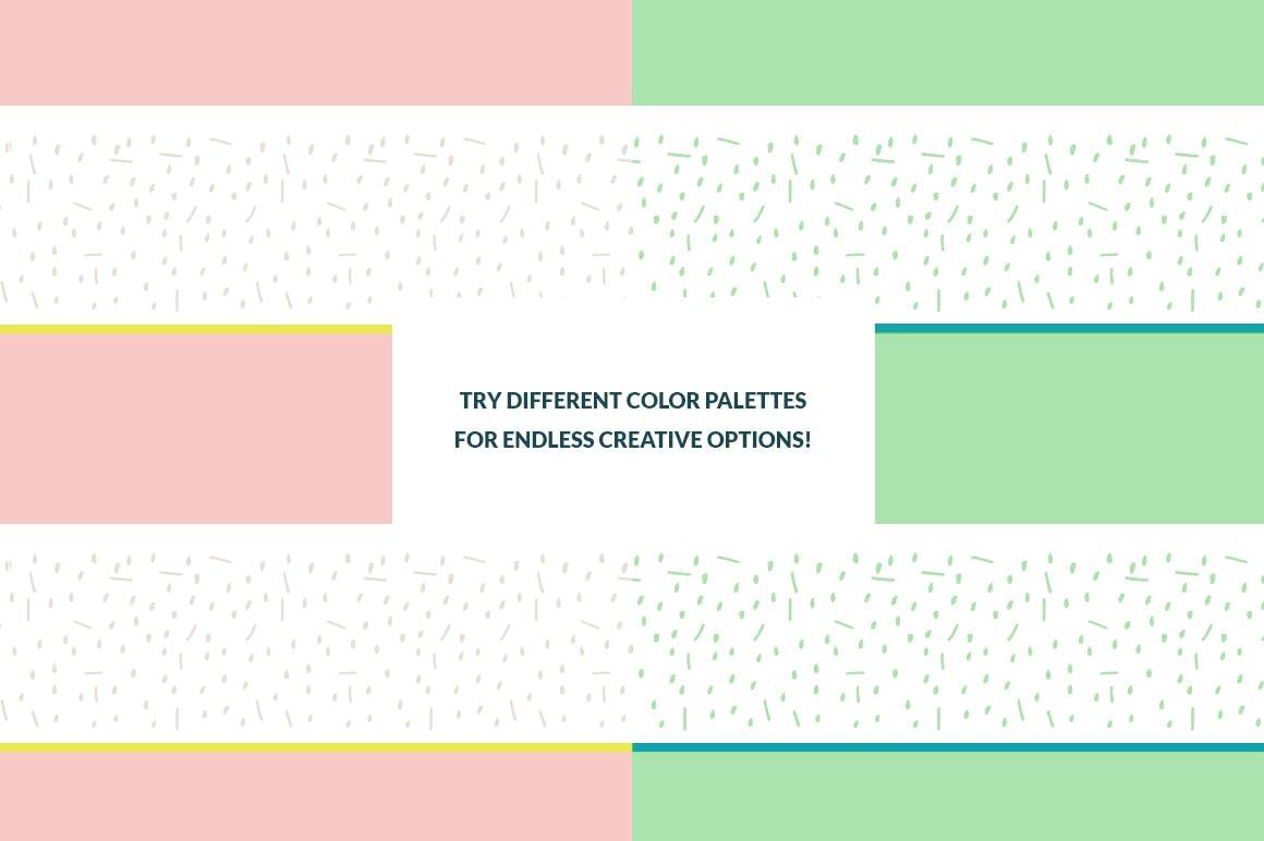 几何饱满色彩图形组合无缝图案组合Color Blocking Patterns插图(1)