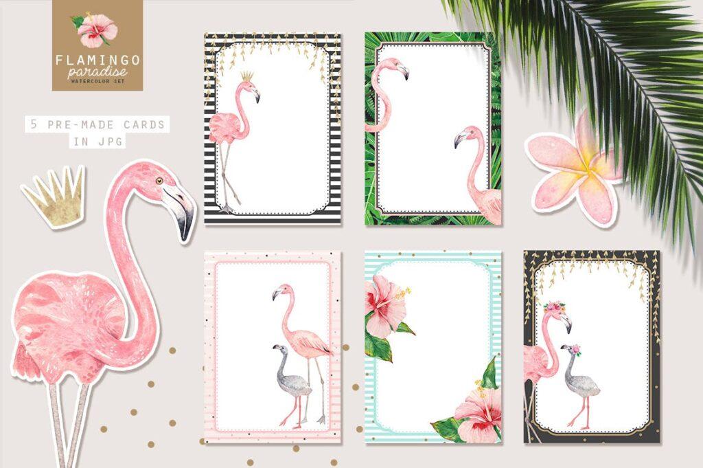 火烈鸟热带树叶和花朵主题装饰元素纹理花纹装饰图案FLAMINGO PARADISE watercolor set插图(2)