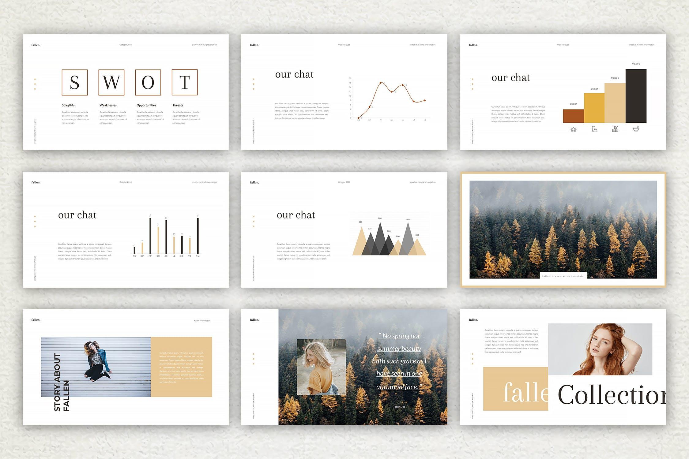 优雅简洁版式多用途活动展示和营销PPT幻灯片模板下载Fallen Keynote Template插图(2)
