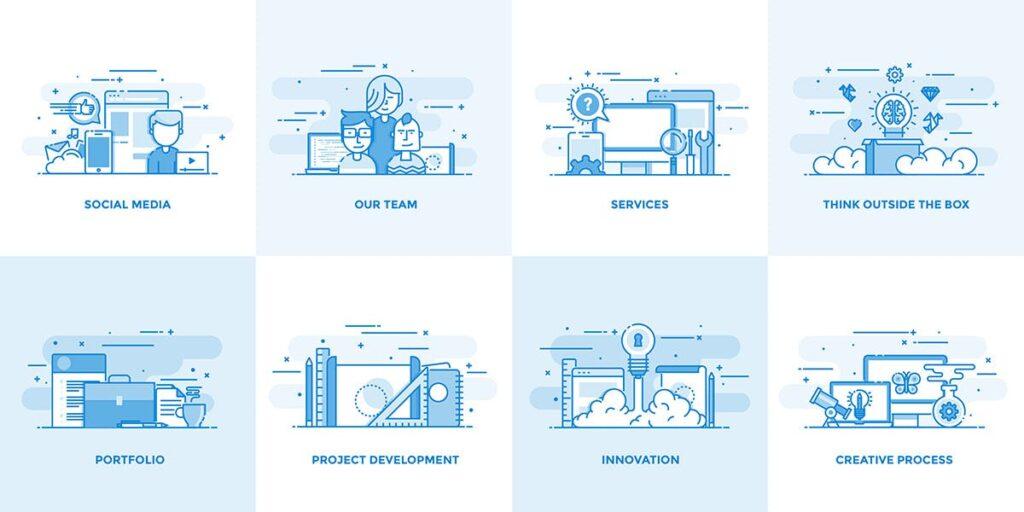 40个创意商务场景插图设计素材下载Flat Line Designed Concepts插图(2)