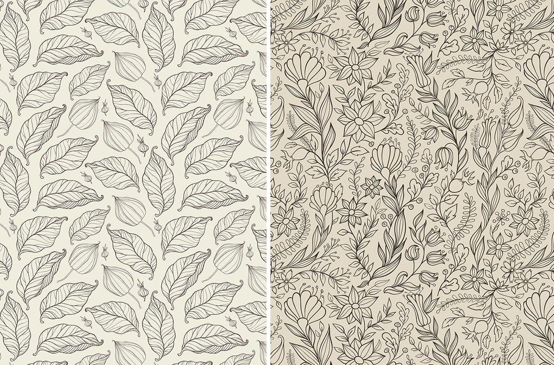 花卉矢量图案与叶子Floral Seamless Patterns插图(2)