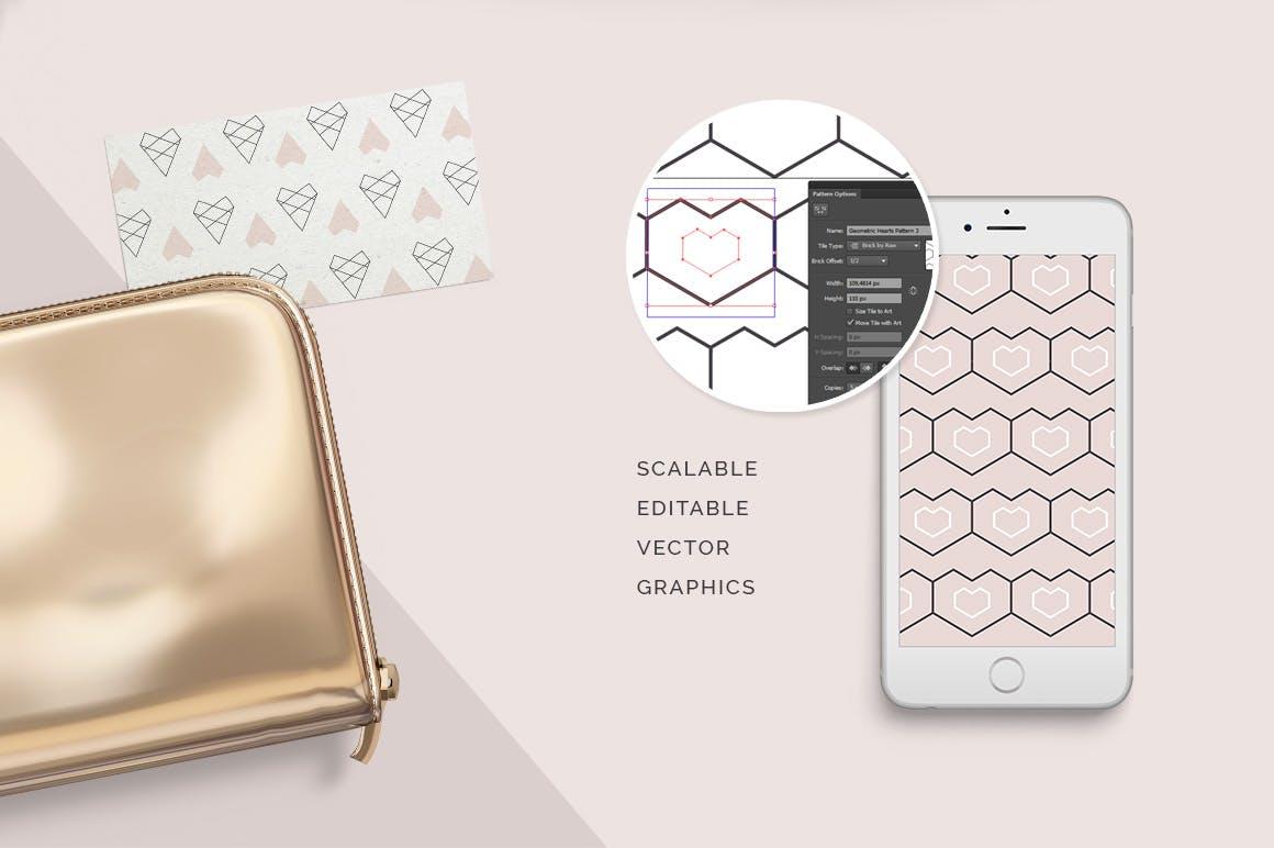 情人节产品包装装饰图案素材Geometric Hearts Patterns插图(2)