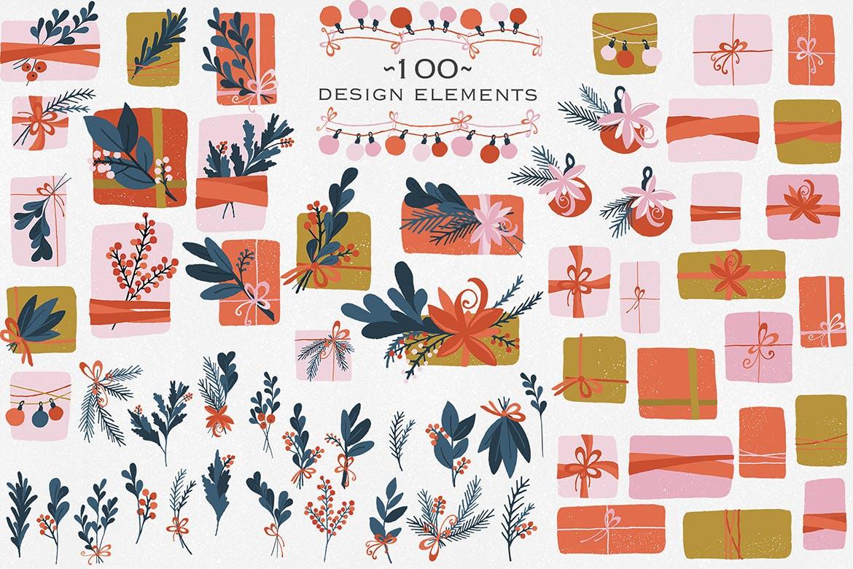 礼品盒设计元素手绘装饰图案素材纹理下载Gift Box Design Elements插图(1)