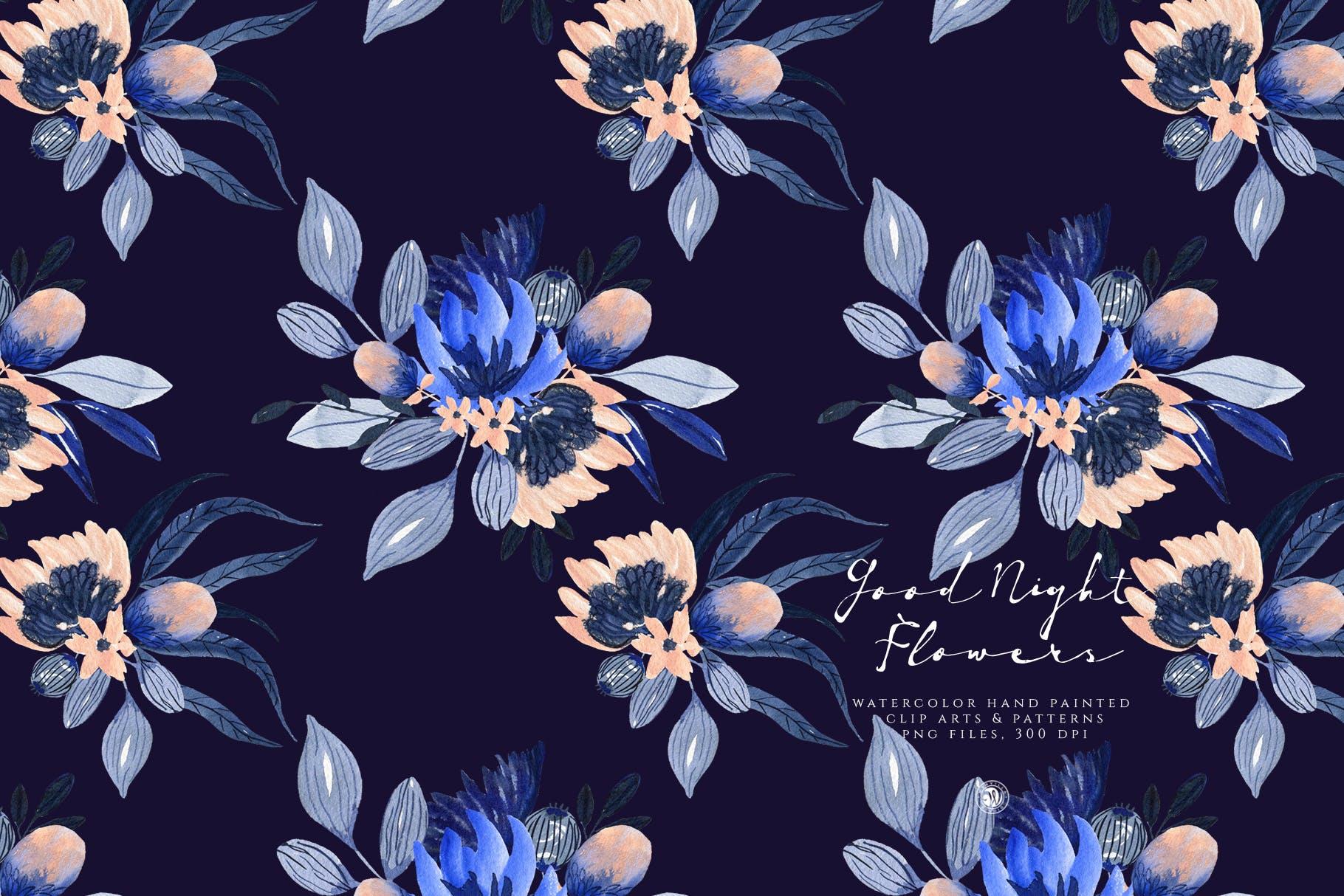 暗夜水彩画花卉手绘水彩画剪贴艺术图案/纹理素材Good Night Flowers插图(2)