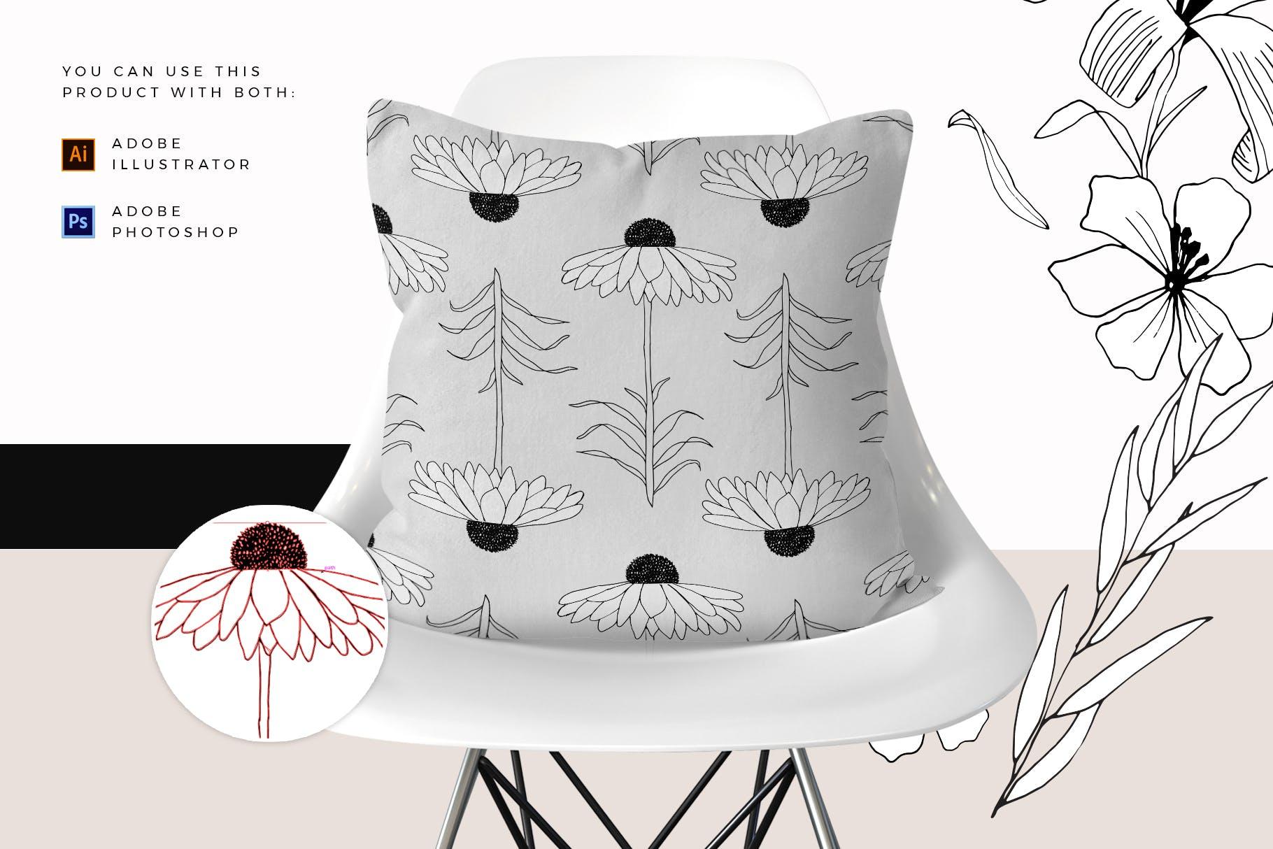 图形花卉图案装饰性元素图案花纹素材下载Graphic Flowers Patterns Elements插图(2)
