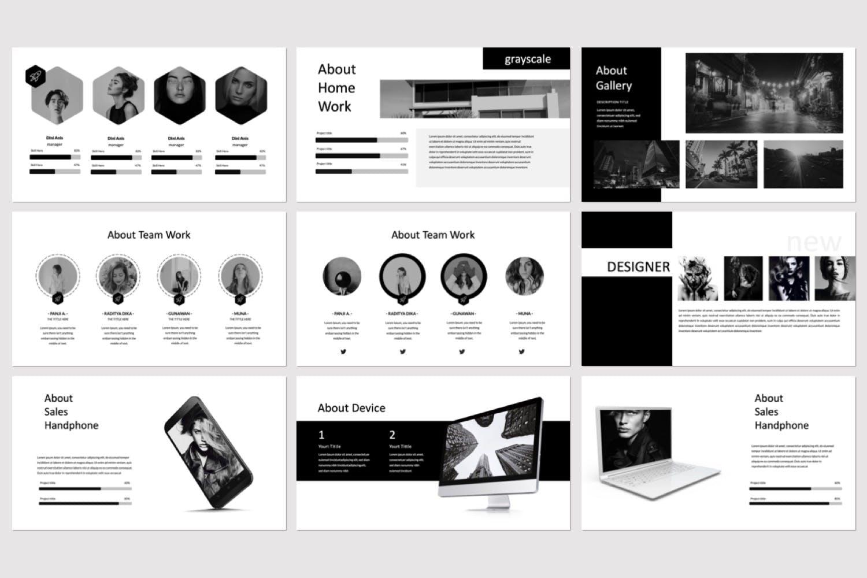 多用途企业策划投资汇报商业广告Grayscale Keynote Template插图(2)