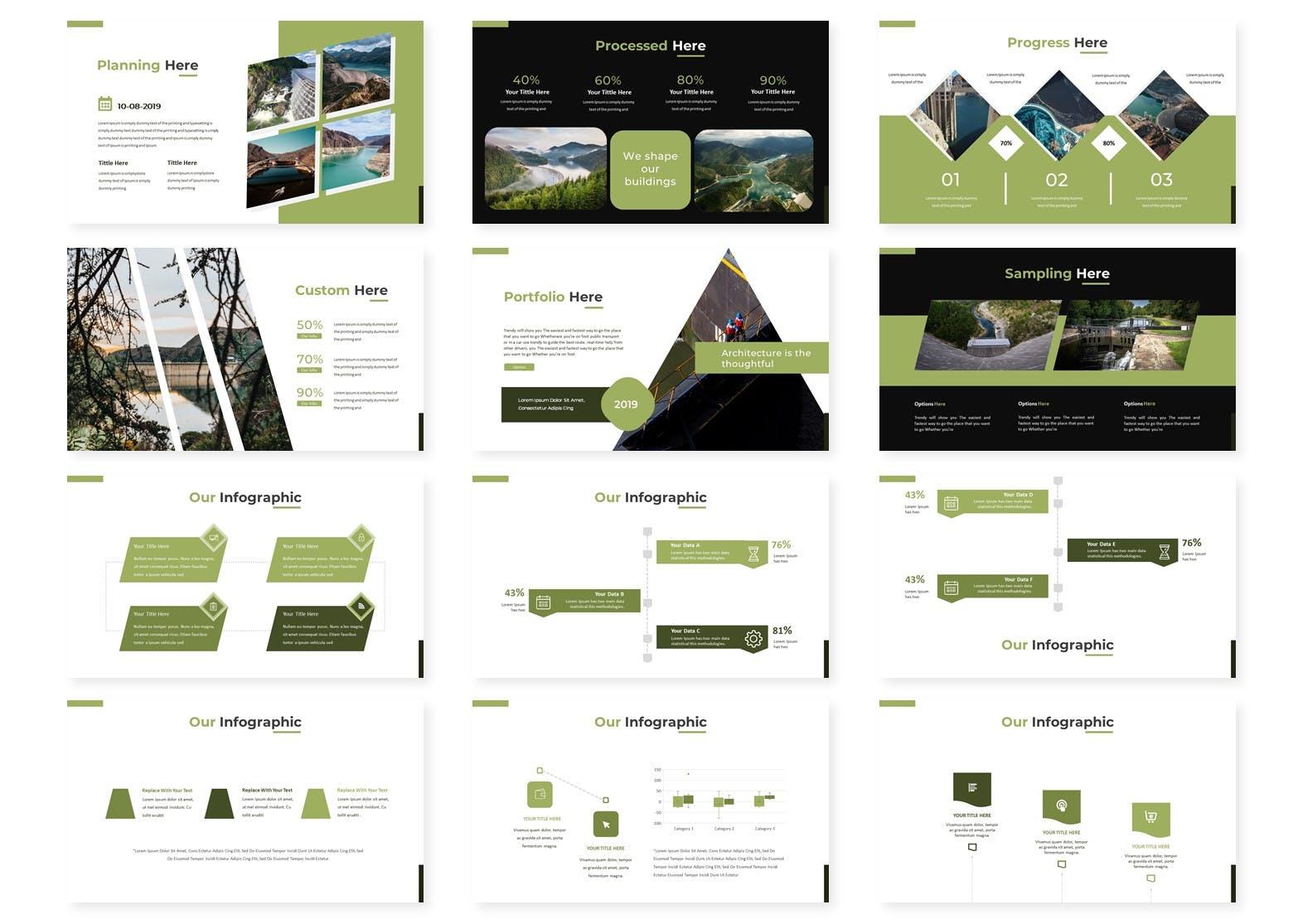 绿色能源水利发电行业数据PPT模板Green Parit Google Slides Template插图(2)