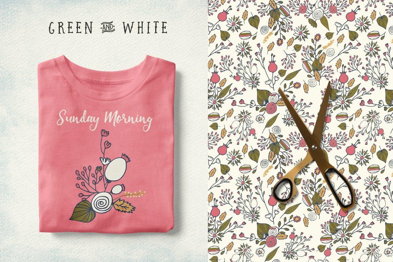 服装花纹包装图案花纹素材模板下载Green and White Flowers插图(2)