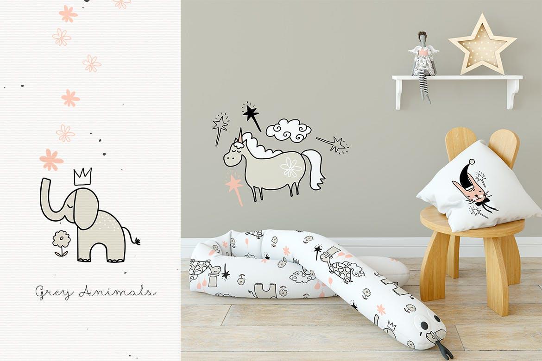 灰色动物手工剪纸和图案精致的家庭装饰图案Grey Animals插图(2)