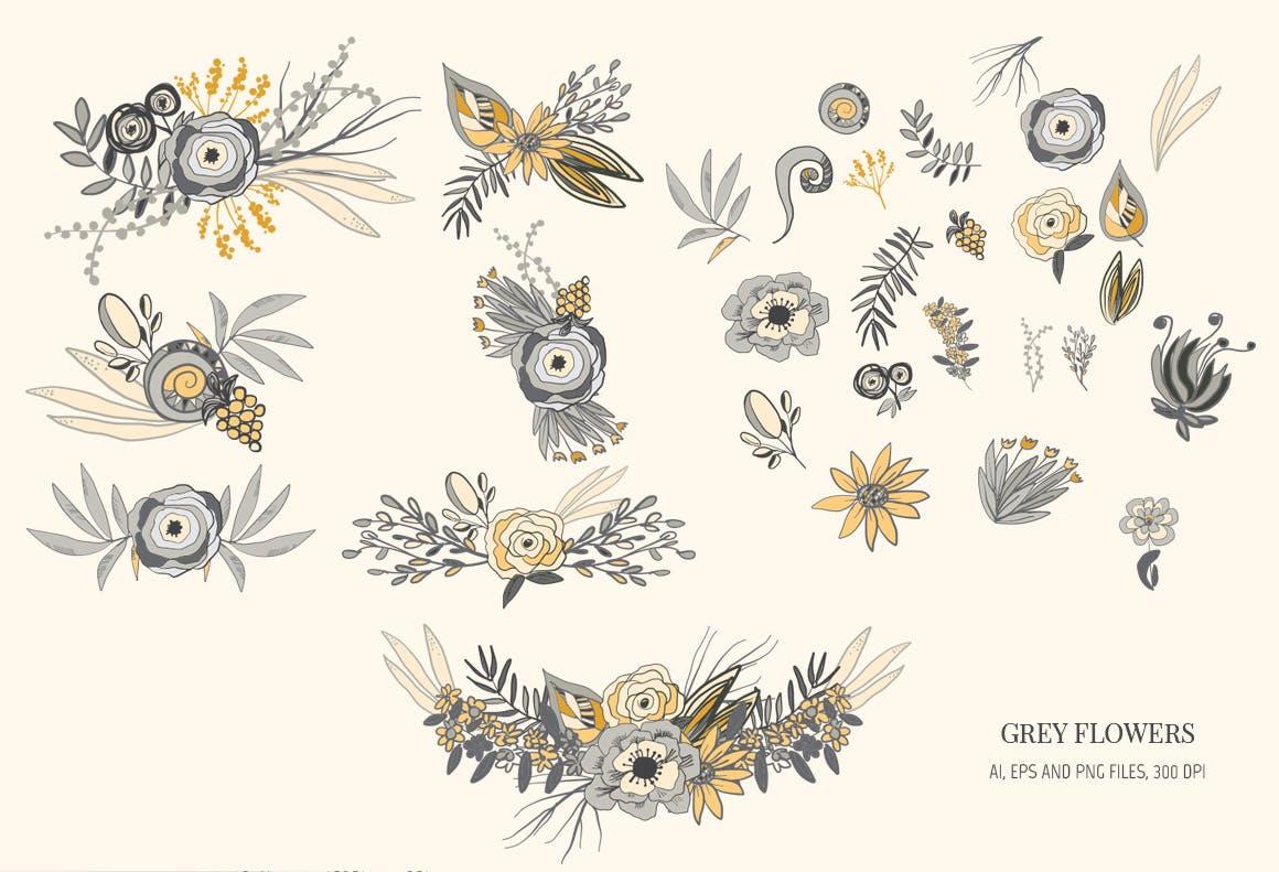 婚礼邀请函装饰图案花纹矢量元素下载Grey Flowers插图(2)