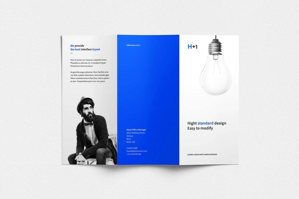企业产品目录三折页模板素材H1 Trifold Brochure插图(2)