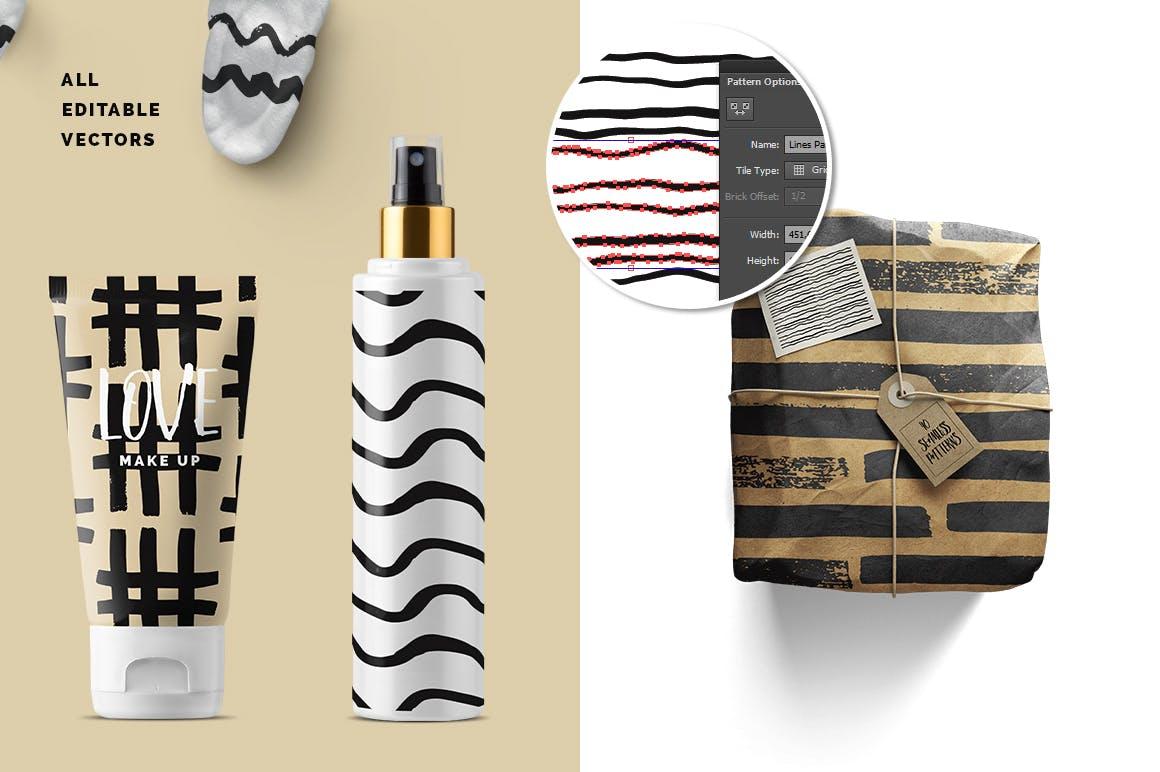 几何线条图案装饰纹理素材Handdrawn Lines Patterns插图(2)
