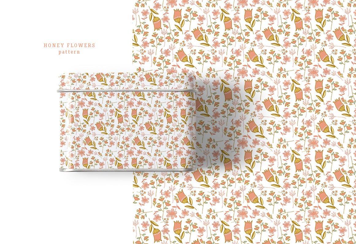 蜂蜜花卉图案纹理素材植物图案纹理下载Honey Flowers插图(2)