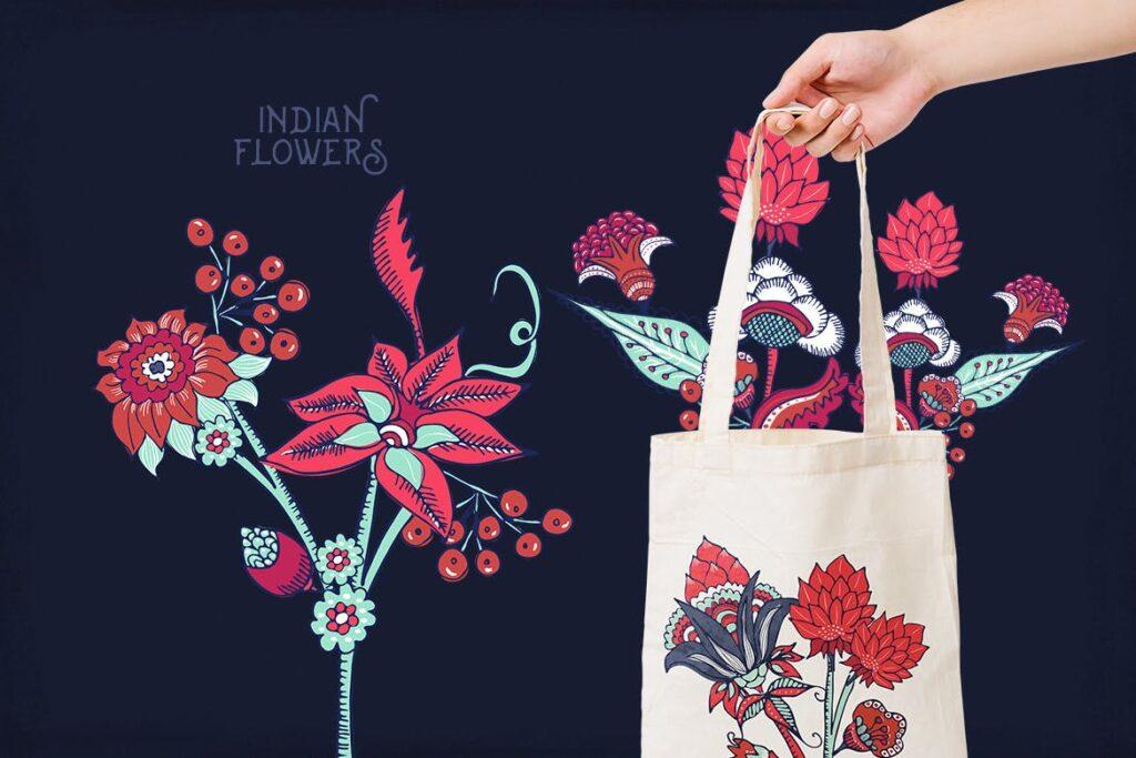 印度风格花卉插花抱枕装饰图案花纹Indian Flowers插图(2)