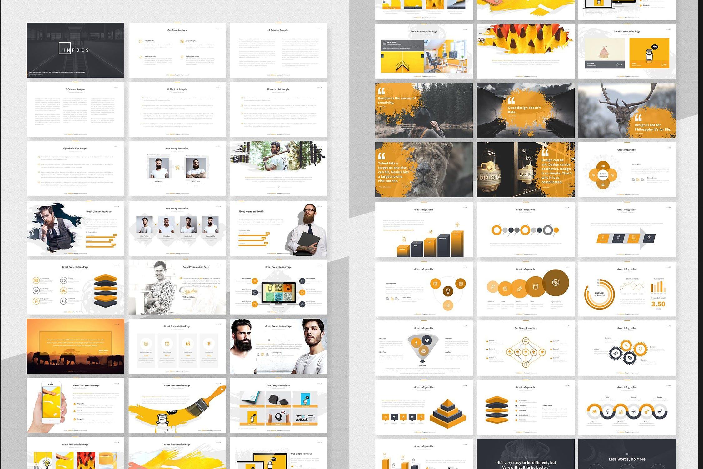 经典黑色调企业品牌介绍幻灯片模板下载Infocs Keynote Template插图(2)