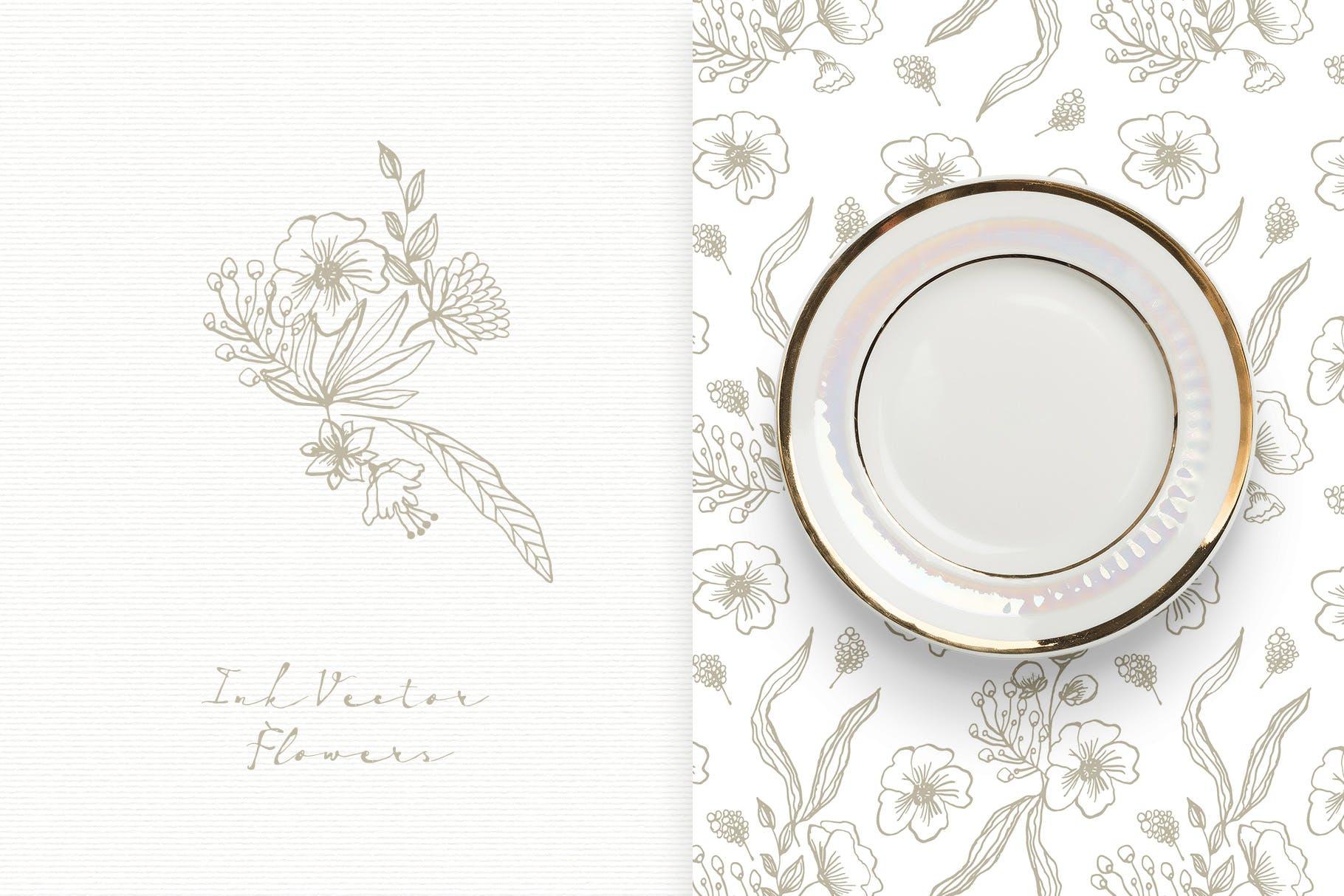 手工研磨制品装饰图案Ink Vector Flowers插图(2)