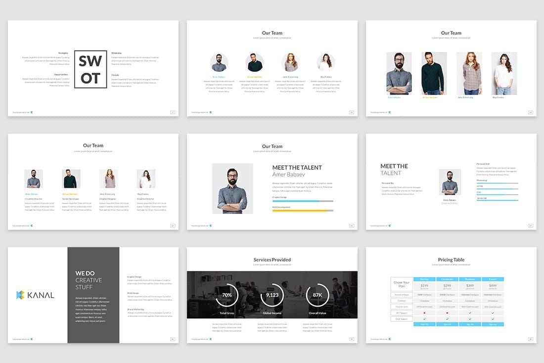 极简主义的创意主题设计PPT幻灯片模板Kanal Google Slides Template插图(2)