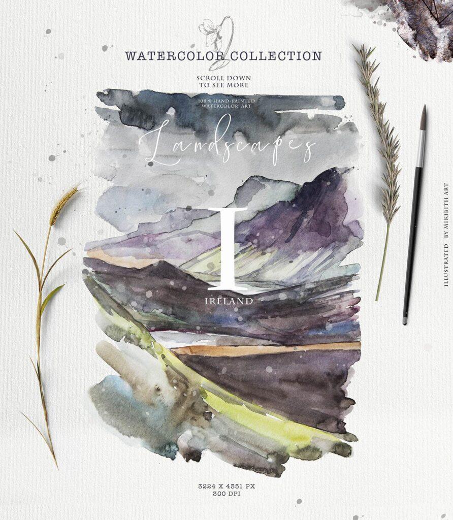 水彩画的风景与山脉/田野/河流Landscapes watercolor插图(2)
