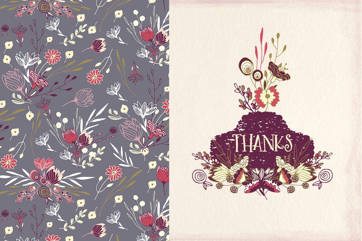 薰衣草花轮廓图素材模板图案纹理下载Lavender Flowers插图(2)