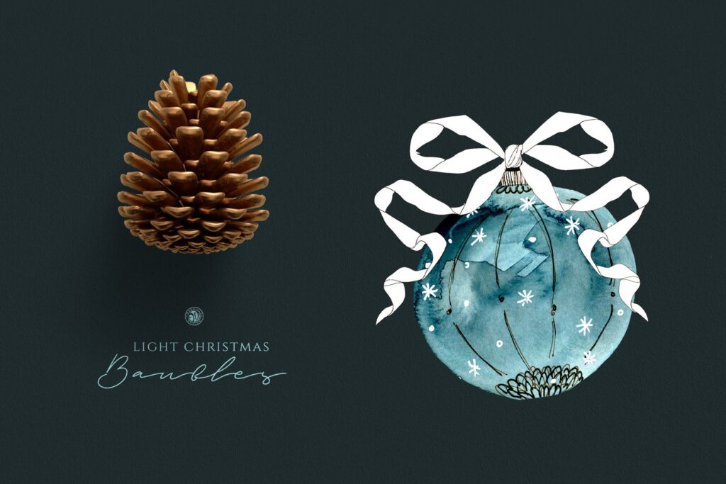 圣诞节水彩小玩意水彩圣诞装饰品Light Christmas Watercolor Baubles插图(2)