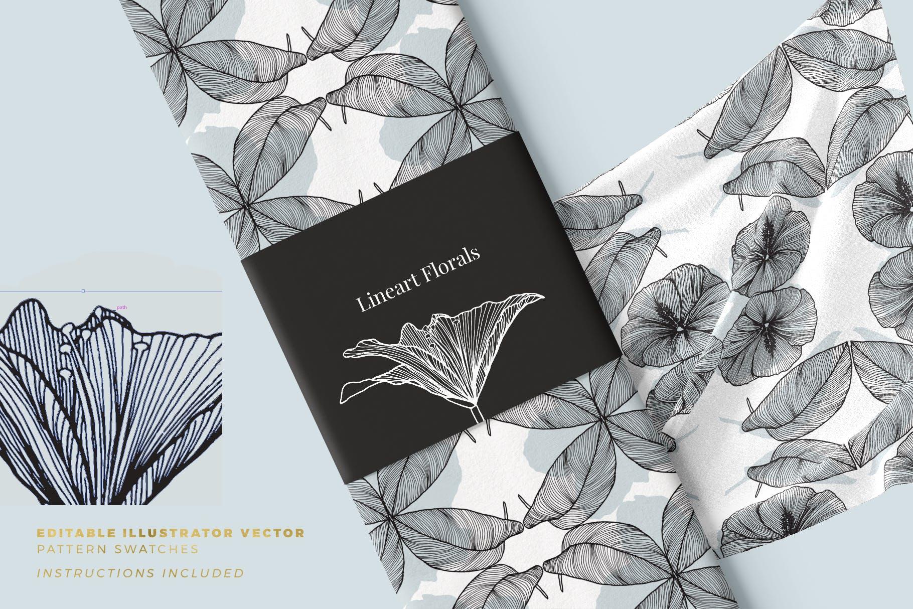 线条艺术花卉矢量图案元素Lineart Floral Patterns Elements插图(2)