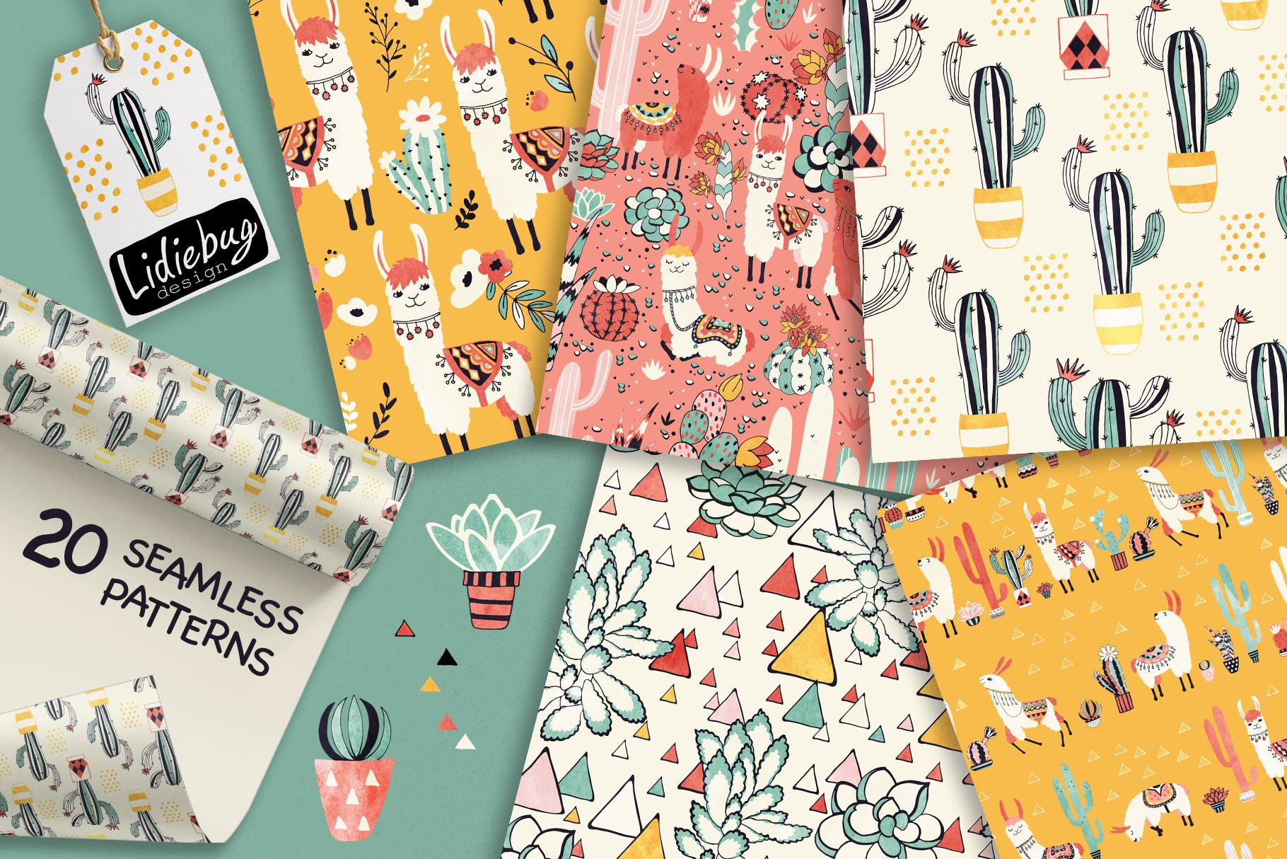骆驼和仙人掌轮廓素材图案纹理Llamas and Cacti插图(2)
